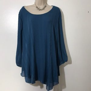 AGB Denim Blue 3X Long Sleeve Top Ret $50
